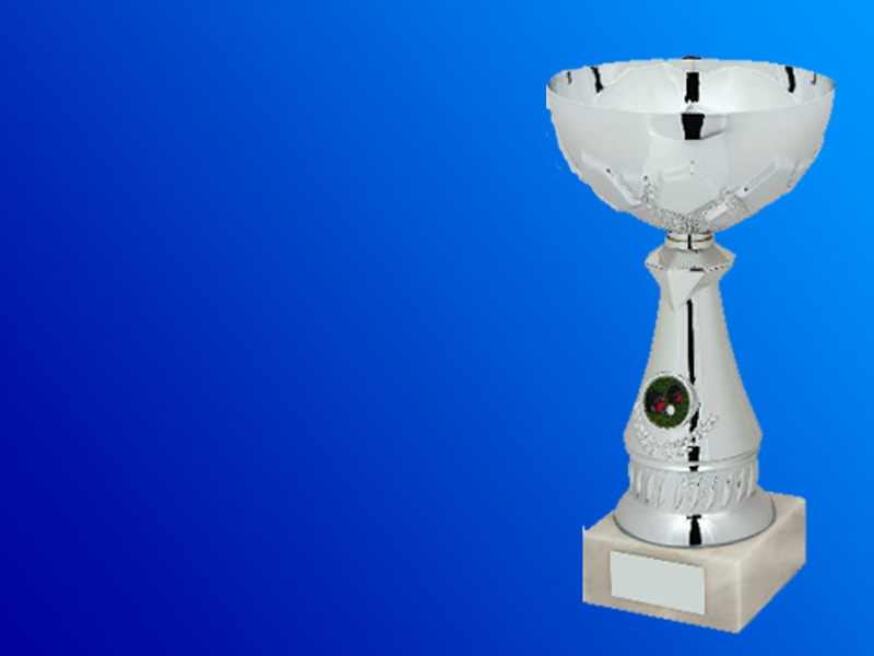 Football cup trophy, large silver bowl footballing trophy.