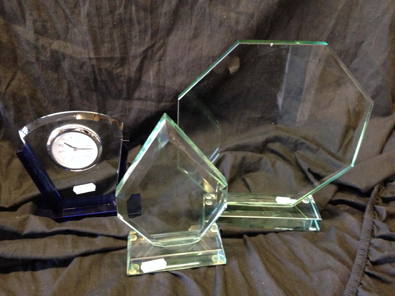 Glass trophies, glass surround clock, ideal awards.