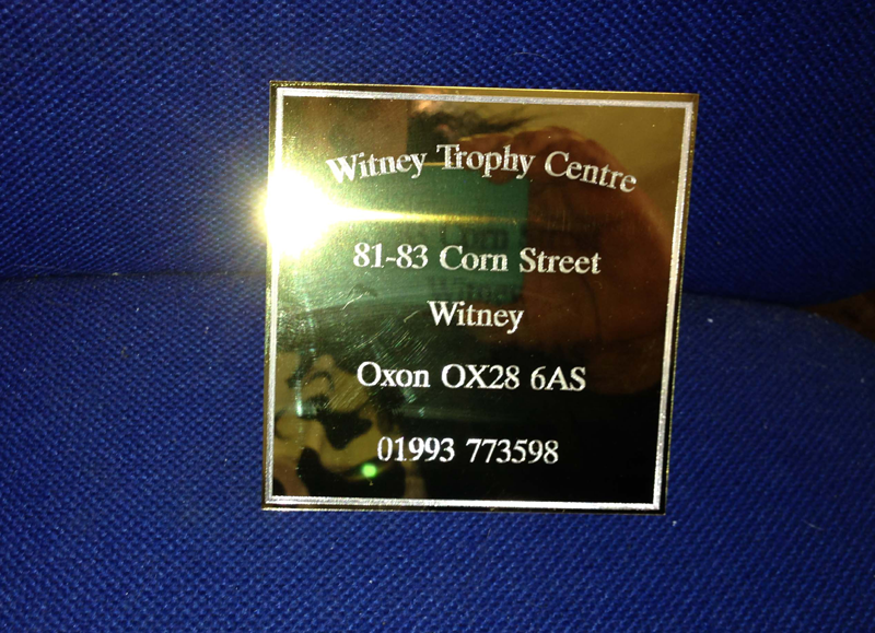 Brass address plaque - engraved at Witney Trophy Centre.