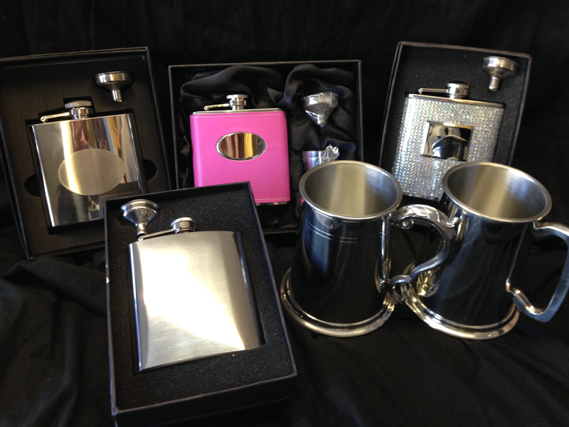 Hip Flasks suitable for men or women and tankards.